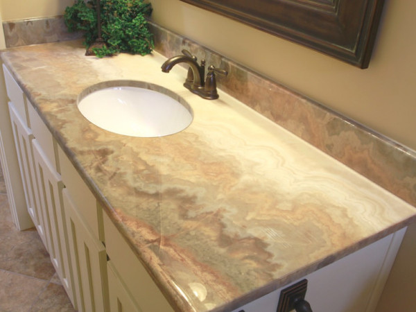 Vanity with a tyvarian countertop